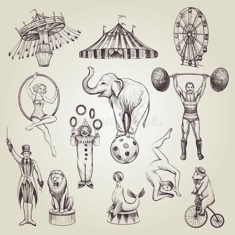 Ejemplos dibujados mano del vector del vintage del circo fijados ilustración del vector