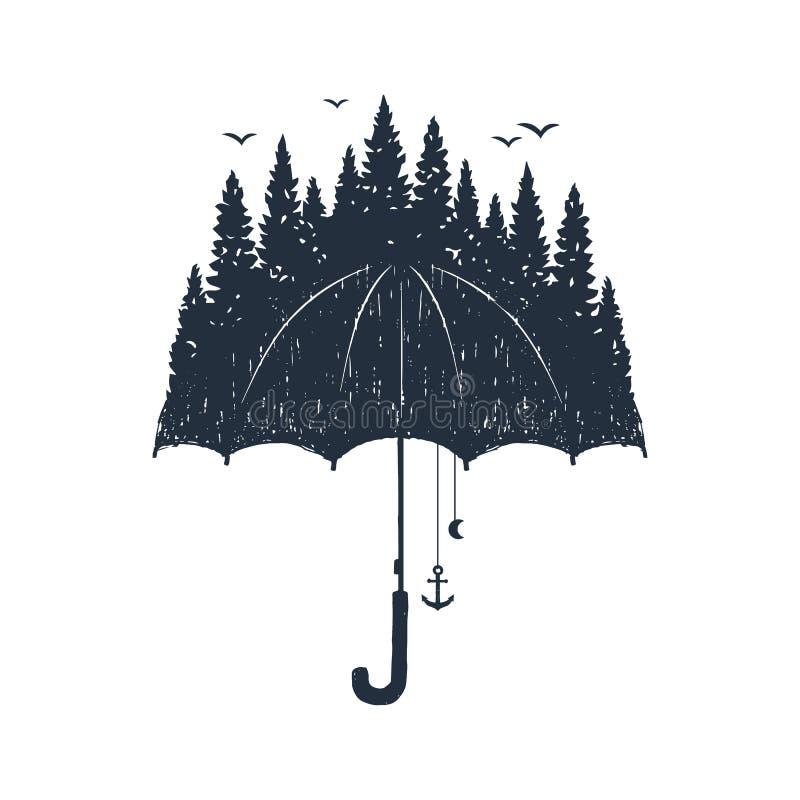 Ejemplos dibujados mano del vector del paraguas stock de ilustración