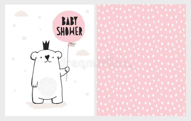Ejemplos dibujados mano linda del vector de la fiesta de bienvenida al bebé fijados Oso blanco con el globo rosado Diseño infanti stock de ilustración