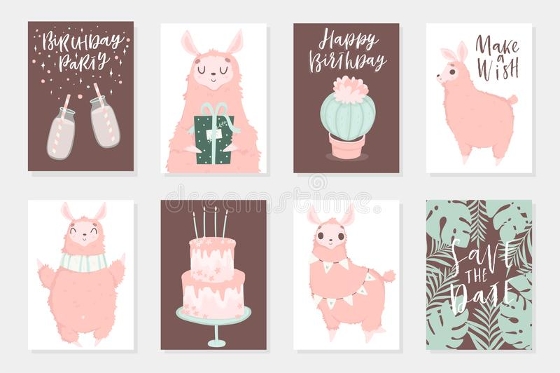 Ejemplos dibujados mano rosada linda de los lamas Sistema de 8 tarjetas lindas libre illustration