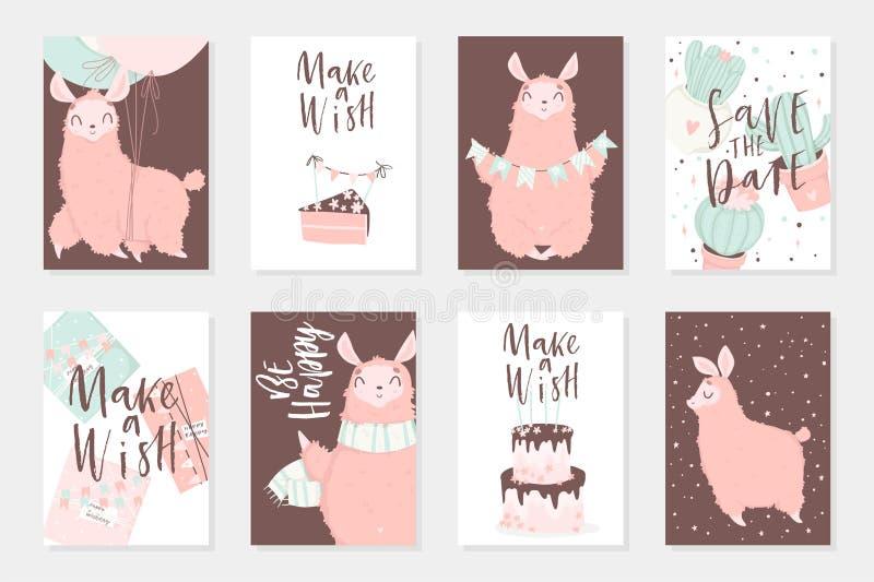 Ejemplos dibujados mano rosada linda de los lamas Sistema de 8 tarjetas lindas stock de ilustración