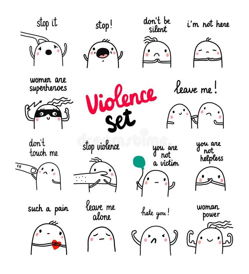 Ejemplos exhaustos de la mano del sistema de la violencia con la melcocha linda stock de ilustración