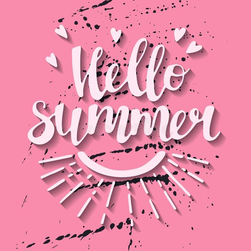 Ejemplos exhaustos de la mano plana del vector Letras: Hola verano stock de ilustración