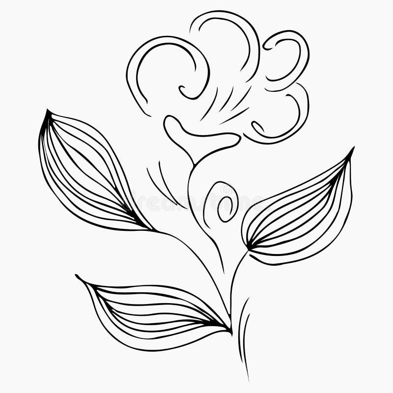 Ejemplos exhaustos del vector de la mano de la flor abstracta de la peon?a aislada en gris Elementos del dise?o floral para las i stock de ilustración