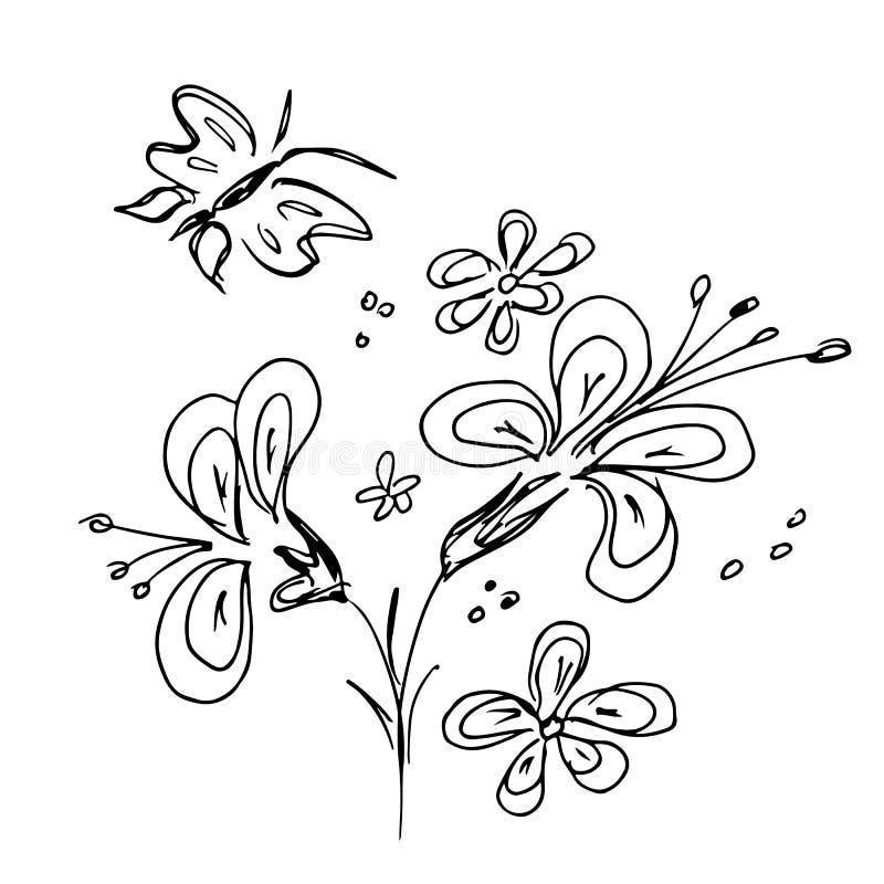 Ejemplos exhaustos grabados de la mano del vector fijados de flores abstractas con la mariposa aislada en blanco Bosquejo exhaust ilustración del vector
