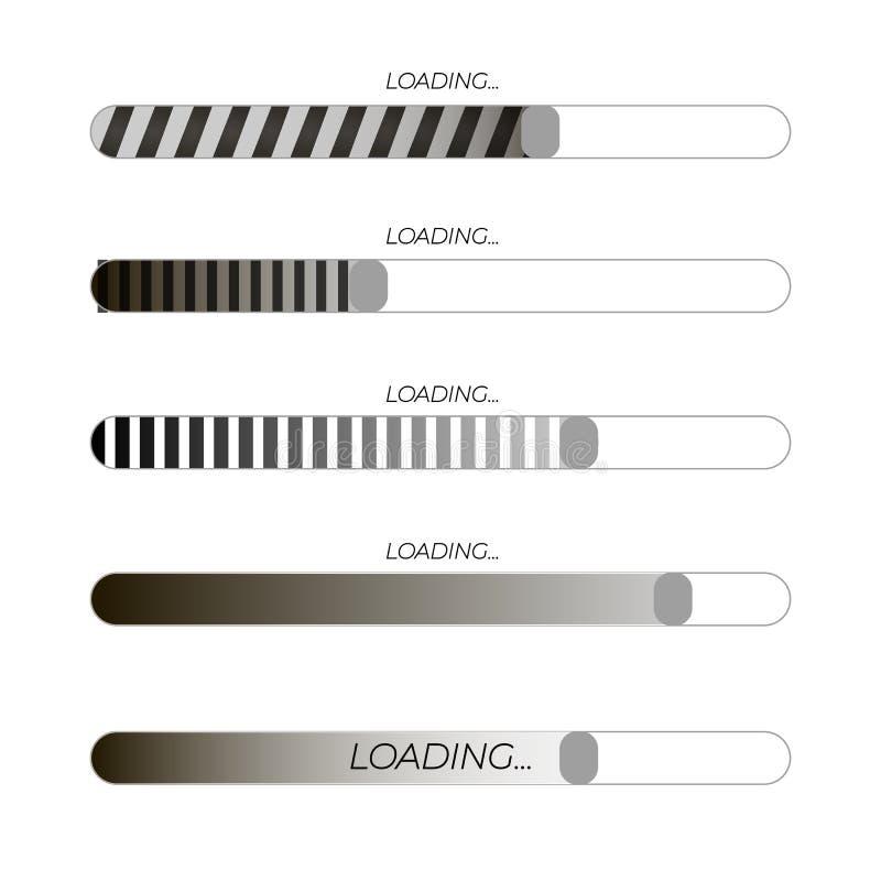 Ejemplos futuristas blancos y negros de la barra de cargamento del vector, iconos fijados, elementos del web ilustración del vector