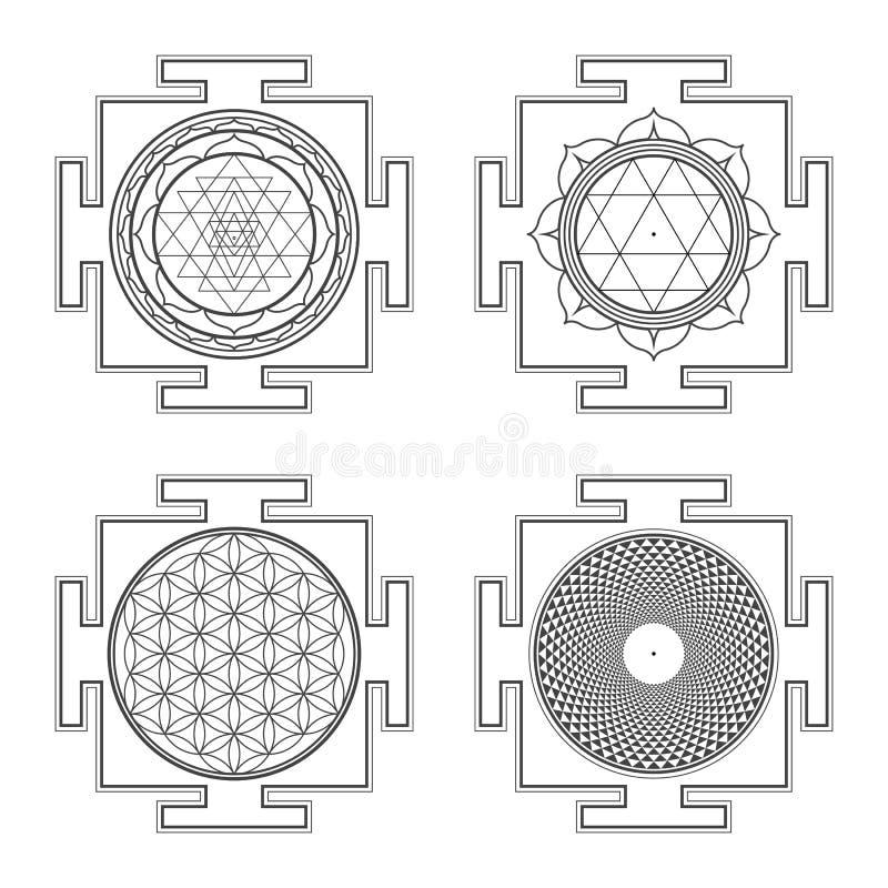 Ejemplos hindúes del yantra del esquema de Monocrome fijados libre illustration