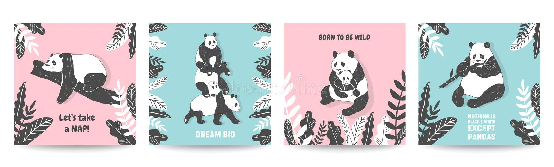 Ejemplos lindos del oso de panda, colección de carteles simples del estilo, cubiertas, tarjetas de felicitación del cumpleaños, i stock de ilustración