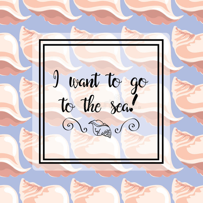 ejemplos a mano Imagen con las cáscaras del mar en un fondo azul Postal, quiero al mar Modelo inconsútil ilustración del vector