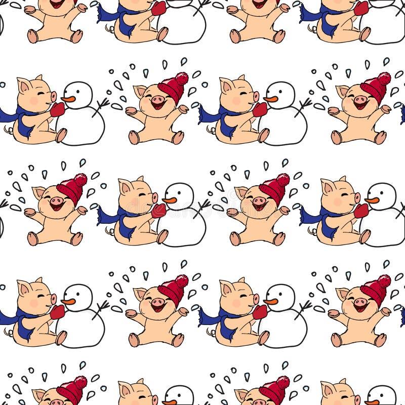ejemplos a mano Invitación del Año Nuevo Tarjeta del invierno con los cerdos Niños que juegan con nieve Cochinillos y muñeco de n ilustración del vector