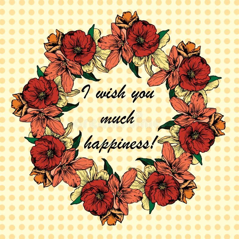 ejemplos a mano La guirnalda de flores y de amapolas en un fondo de lunares Deseo de la postal I usted mucha felicidad ilustración del vector