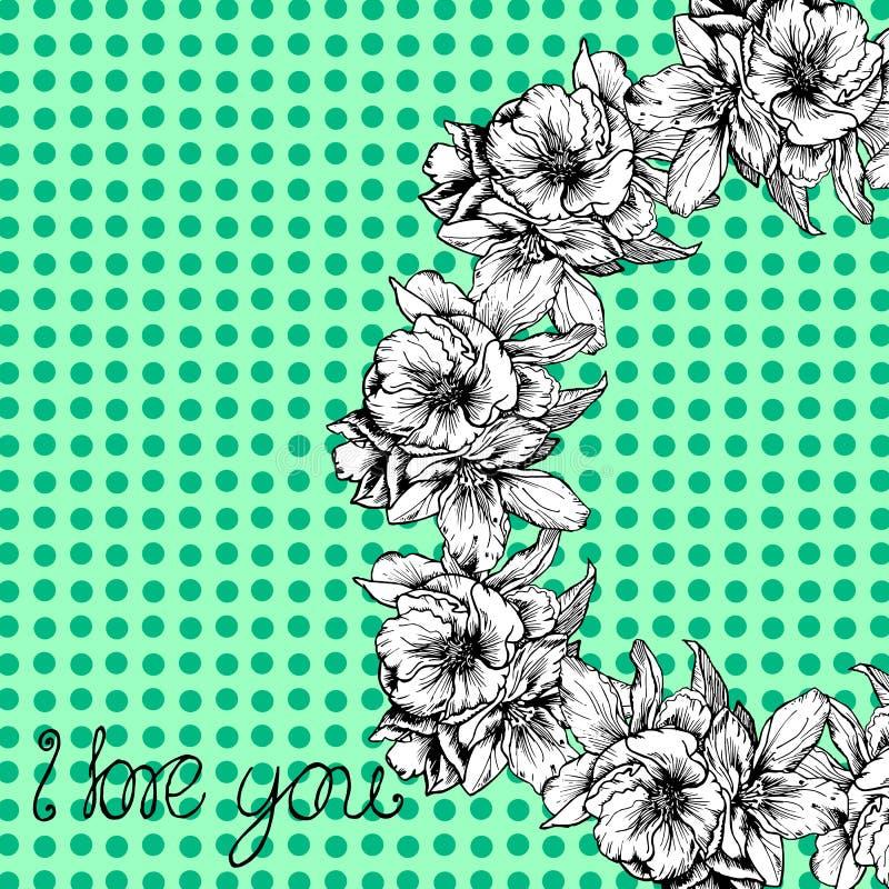 ejemplos a mano La guirnalda de flores y de amapolas en un fondo de lunares Postal te amo ilustración del vector
