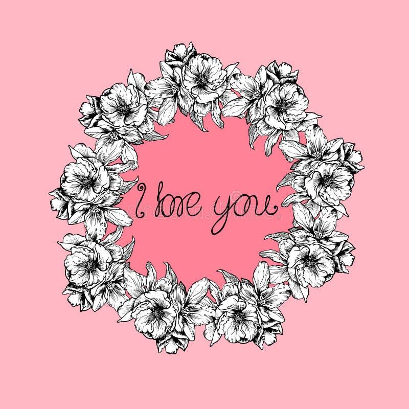 ejemplos a mano La guirnalda de flores y de amapolas en un fondo rosado Postal te amo stock de ilustración