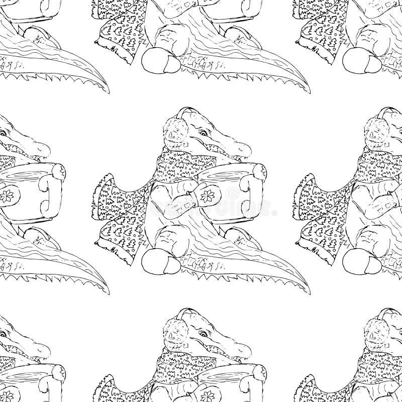 ejemplos a mano Té de consumición del cocodrilo Modelo inconsútil stock de ilustración