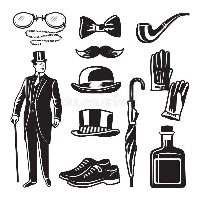 Ejemplos monocromáticos del estilo victoriano para el club del caballero Imágenes del vector fijadas stock de ilustración