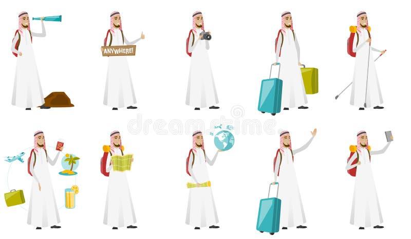 Ejemplos musulmanes jovenes del vector del hombre del viajero fijados libre illustration
