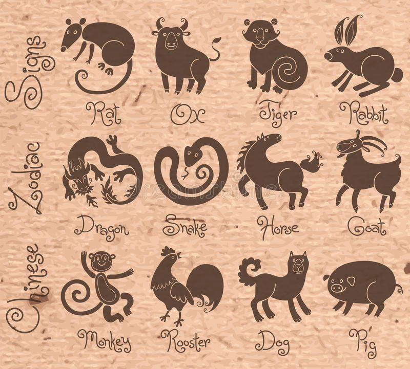 Ejemplos o iconos de los doce chinos stock de ilustración