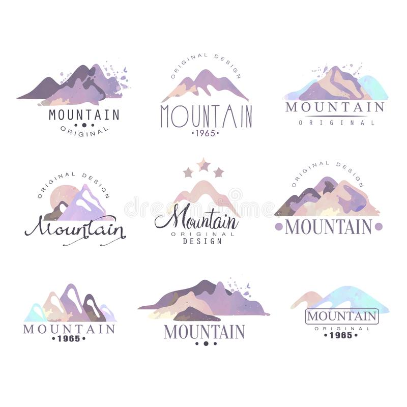 Ejemplos originales del vector de la acuarela del año del diseño del logotipo de la montaña desde 1965 fijados ilustración del vector