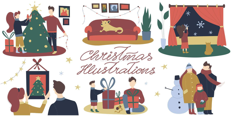 Ejemplos planos con las decoraciones festivas de la Navidad, reunión de la Navidad de la historieta del vector colorido de la fam ilustración del vector