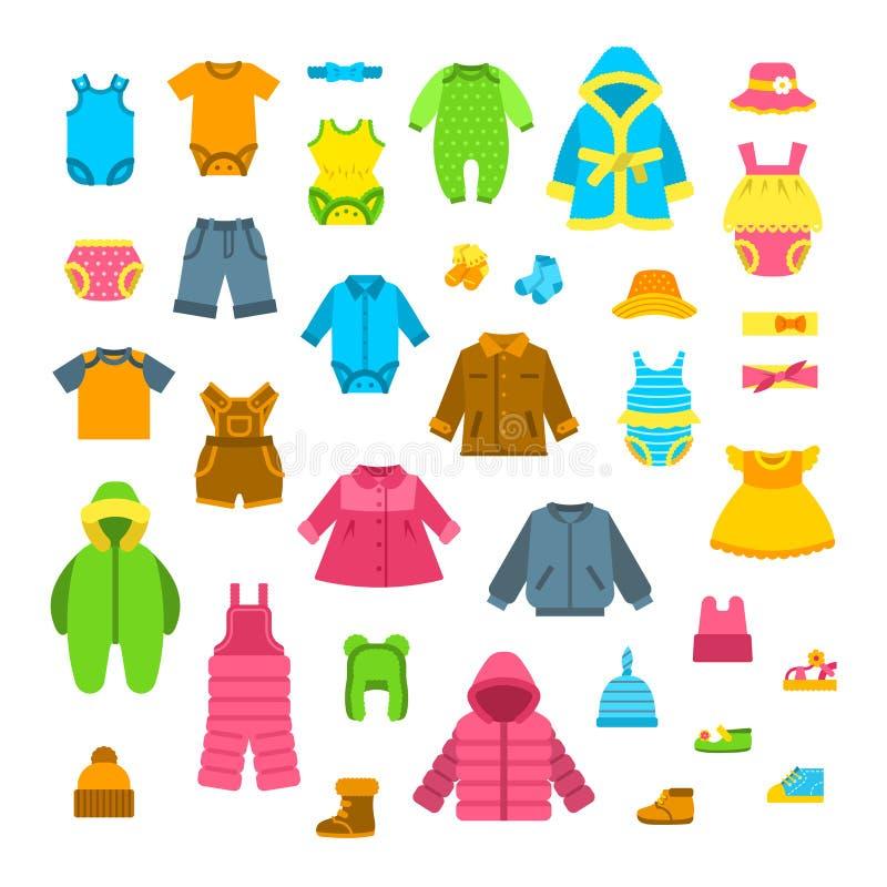 Ejemplos planos del vector de la ropa del bebé fijados stock de ilustración