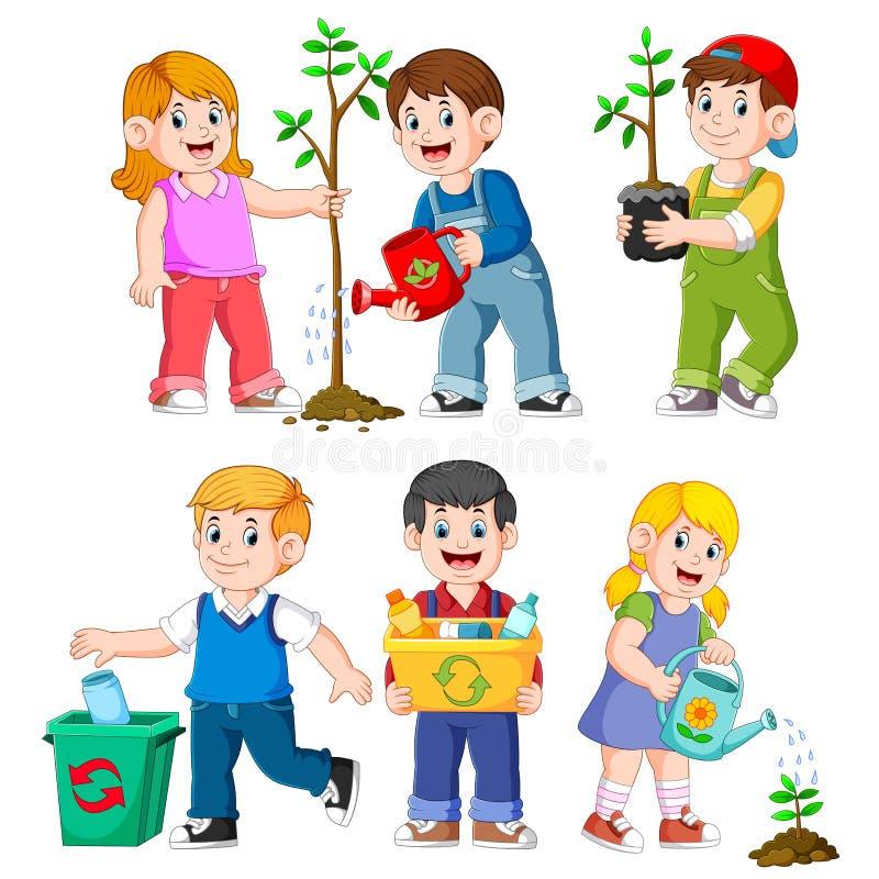 Ejemplos que cultivan un huerto de los niños felices ilustración del vector
