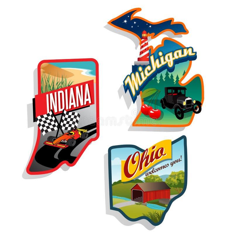 Ejemplos retros Indiana, Ohio, Michig del estado de los E.E.U.U. stock de ilustración