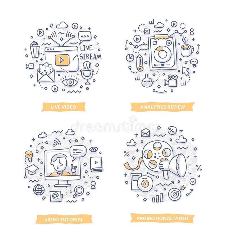 Ejemplos video del garabato del márketing ilustración del vector