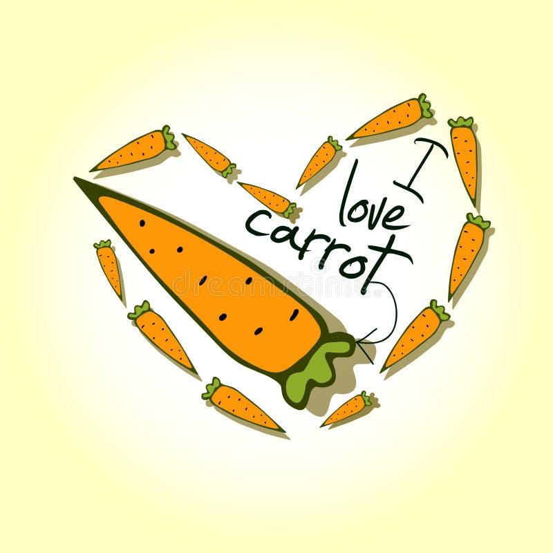 Ejemplos, zanahorias del amor de la impresión I ilustración del vector