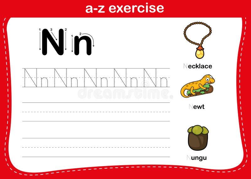 Ejercicio Alphabet a-z con vocabulario de caricatura ilustración del vector