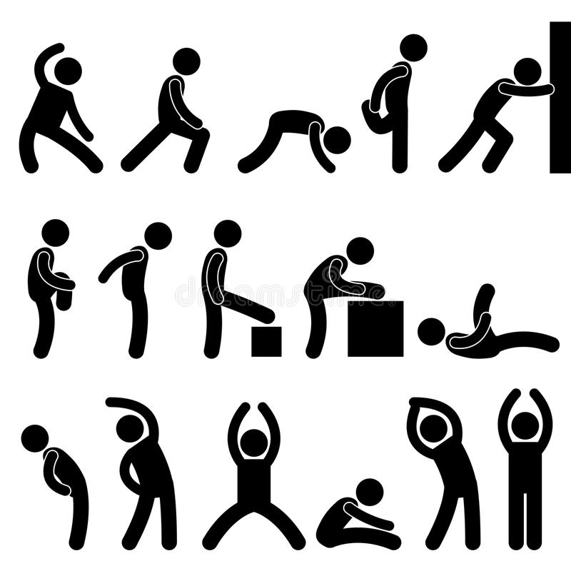 Ejercicio atlético de la gente del hombre que estira símbolo ilustración del vector