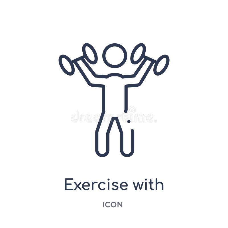ejercicio con el icono de las pesas de gimnasia de la colección del esquema de las herramientas y de los utensilios Línea fina ej ilustración del vector