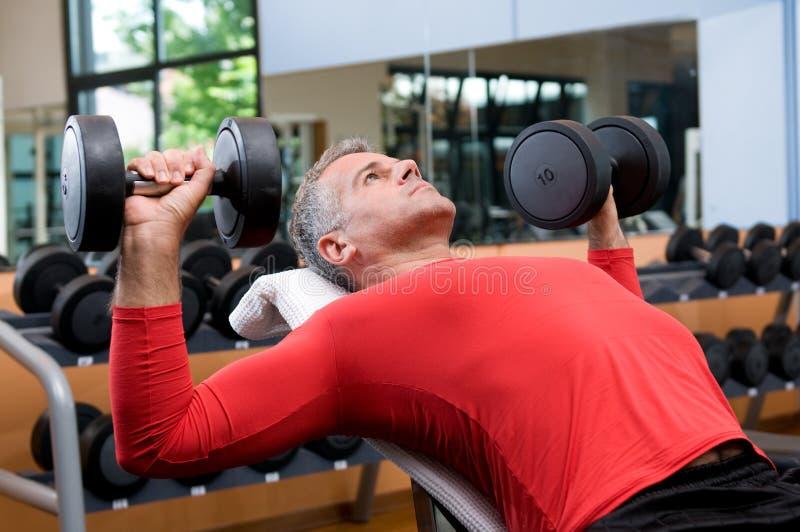 Ejercicio con los dumbells en la gimnasia imagen de archivo