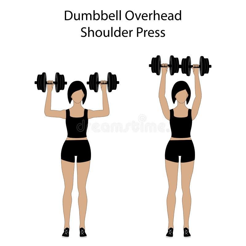 Ejercicio de arriba de la prensa del hombro de la pesa de gimnasia libre illustration