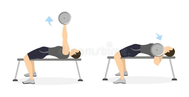 Ejercicio de brazo para los hombres ilustración del vector