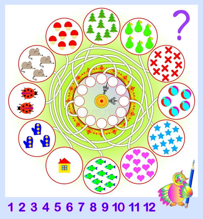 Ejercicio de la lógica para los niños jovenes Necesite contar la cantidad de objetos y escribir los números de correspondencia en stock de ilustración