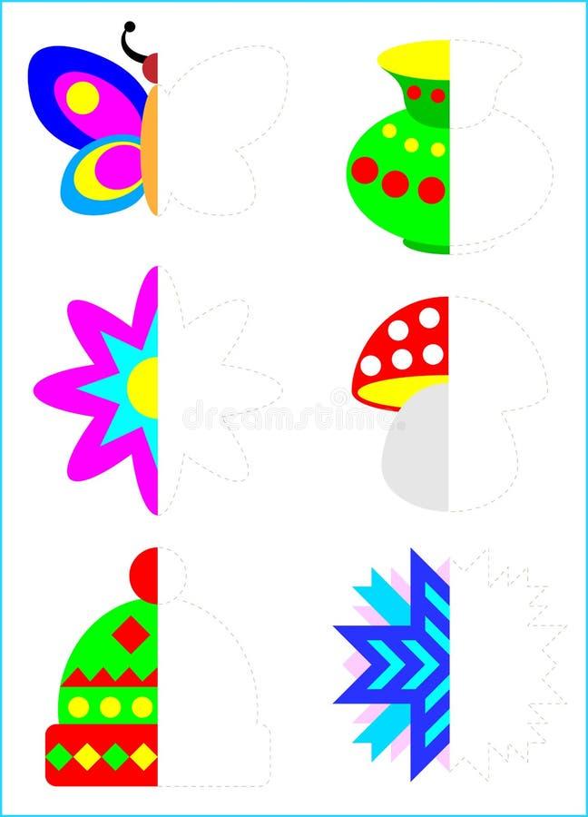 Ejercicio de la lógica para los niños jovenes Necesite dibujar las segundas partes de objetos que consideran la simetría ilustración del vector