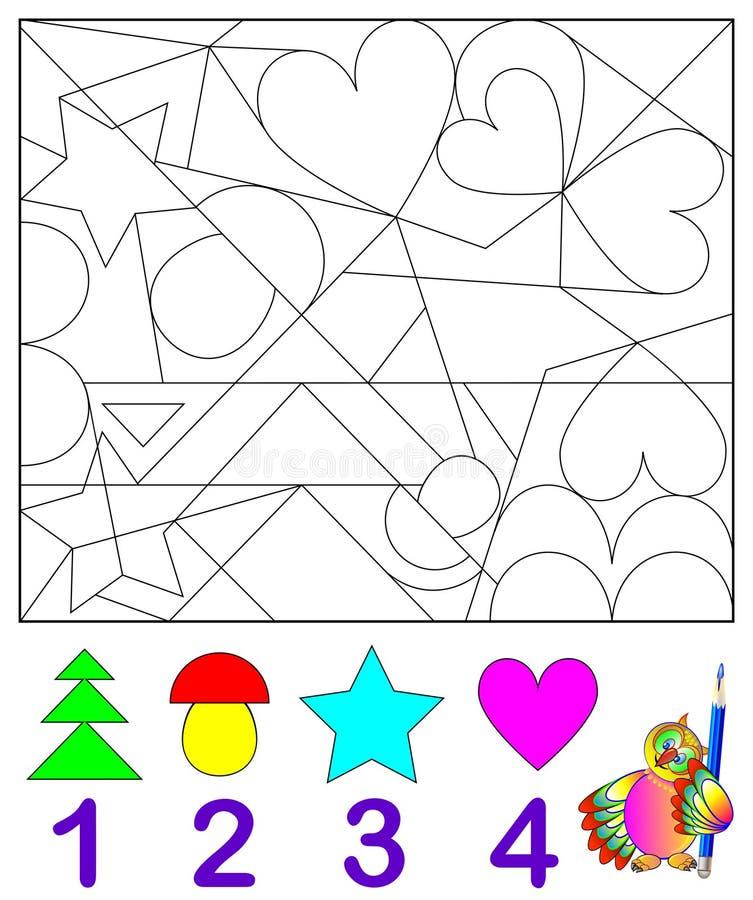 Ejercicio de la lógica para los niños jovenes Necesite encontrar en el dibujo el número de correspondencia de figuras y pintarlas libre illustration