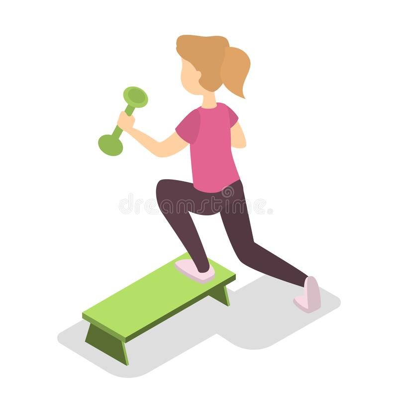 Ejercicio de la muchacha con pesa de gimnasia en el paso stock de ilustración