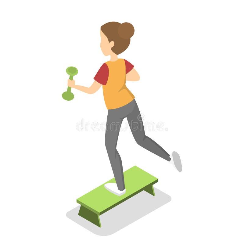 Ejercicio de la muchacha con pesa de gimnasia en el paso ilustración del vector