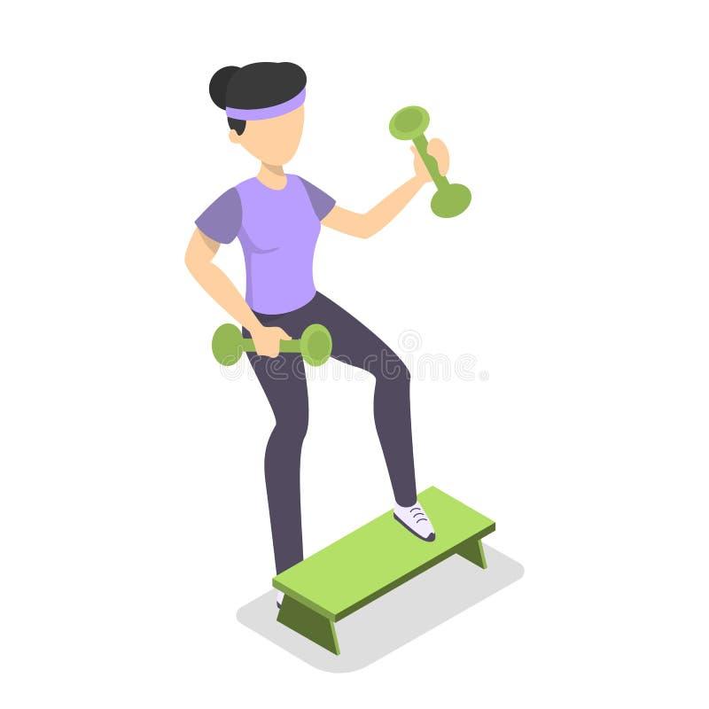 Ejercicio de la muchacha con pesa de gimnasia en el paso libre illustration