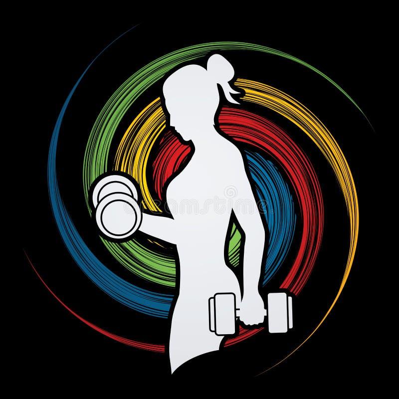 Ejercicio de la mujer con pesa de gimnasia libre illustration