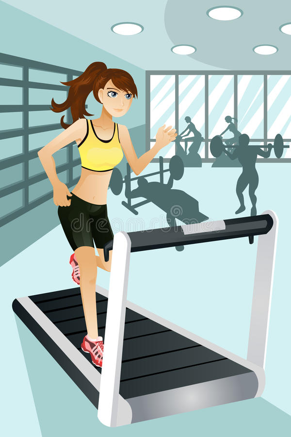 Ejercicio de la mujer en gimnasia stock de ilustración