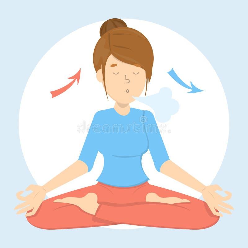 Ejercicio de la respiración para la buena relajación Respire adentro y hacia fuera libre illustration