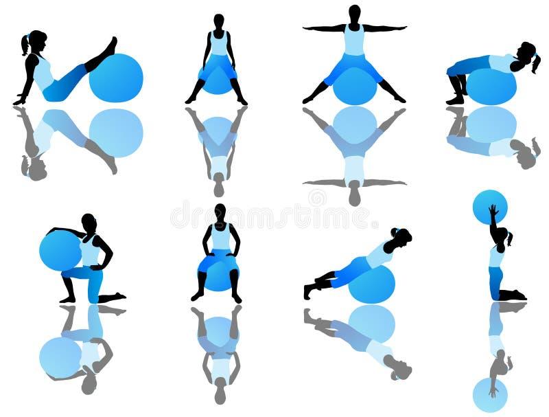 Ejercicio de Pilates ilustración del vector