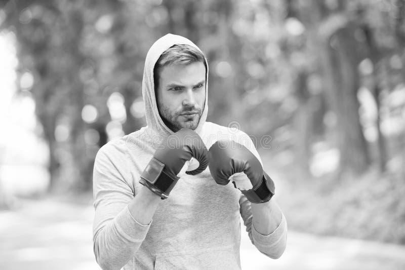 Ejercicio del boxeador en el aire fresco Knowckout Perforación del hombre Lucha para el éxito Hombre en guantes de boxeo y capill imagen de archivo libre de regalías