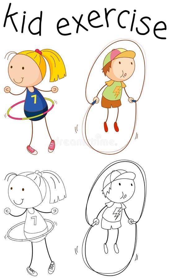 Ejercicio del carácter de la muchacha del garabato stock de ilustración