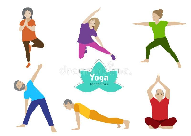 Ejercicio del mayor de la yoga Actividad del deporte de una más vieja gente stock de ilustración