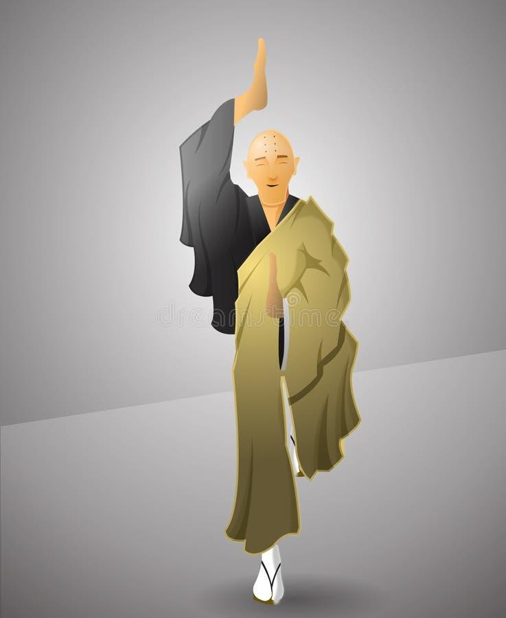 Ejercicio del monje budista stock de ilustración