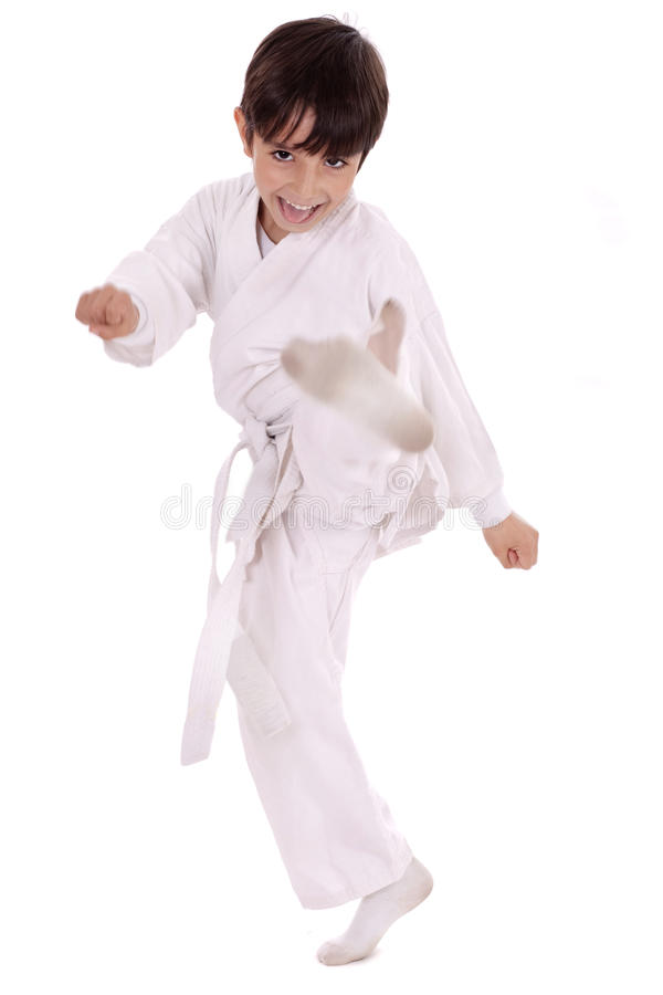 Ejercicio del muchacho del karate fotografía de archivo