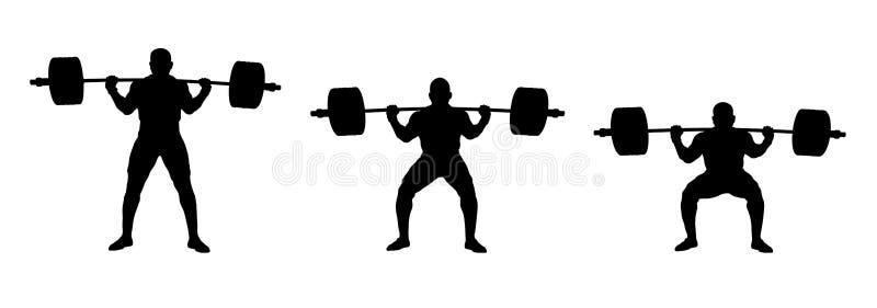 Ejercicio determinado del powerlifter del atleta powerlifting stock de ilustración